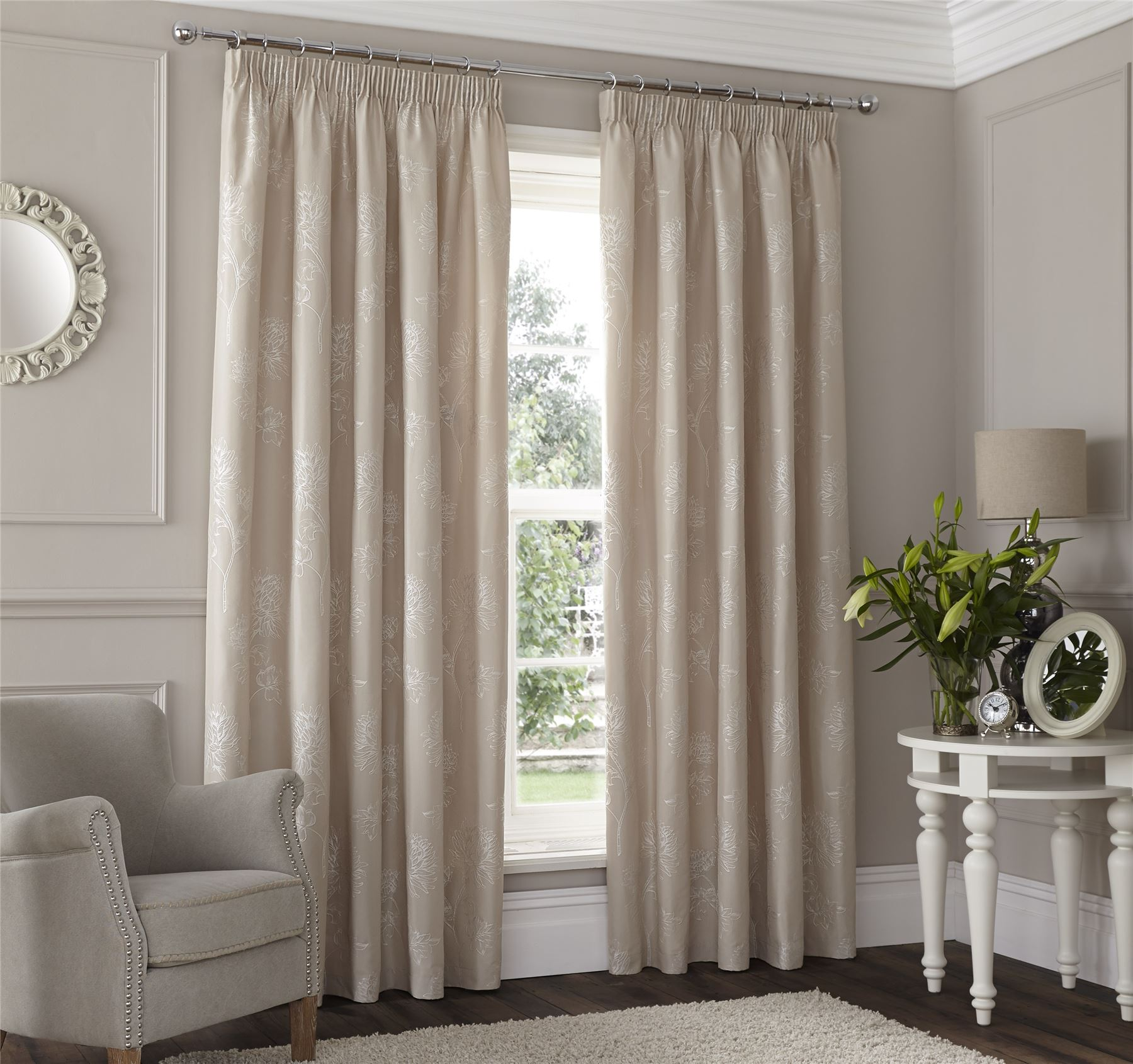 Beige embroidered floral lined pencil pleat curtains - Comment faire des rideaux a plis francais ...