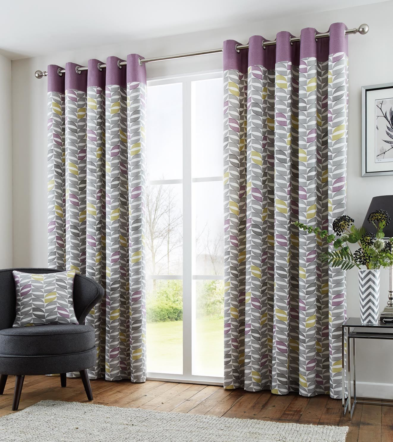 Fully Lined 100 Cotton Purple Green Cream Eyelet Ring Top Curtains 8 Sizes
