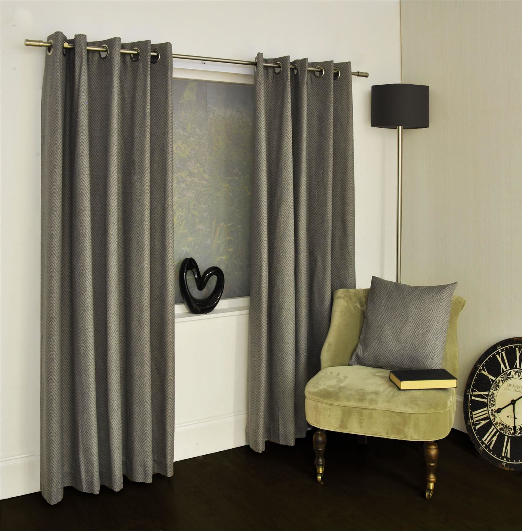Herringbone Grey Lined Cotton Blend Ring Top Curtains Drapes 8 Sizes Ebay