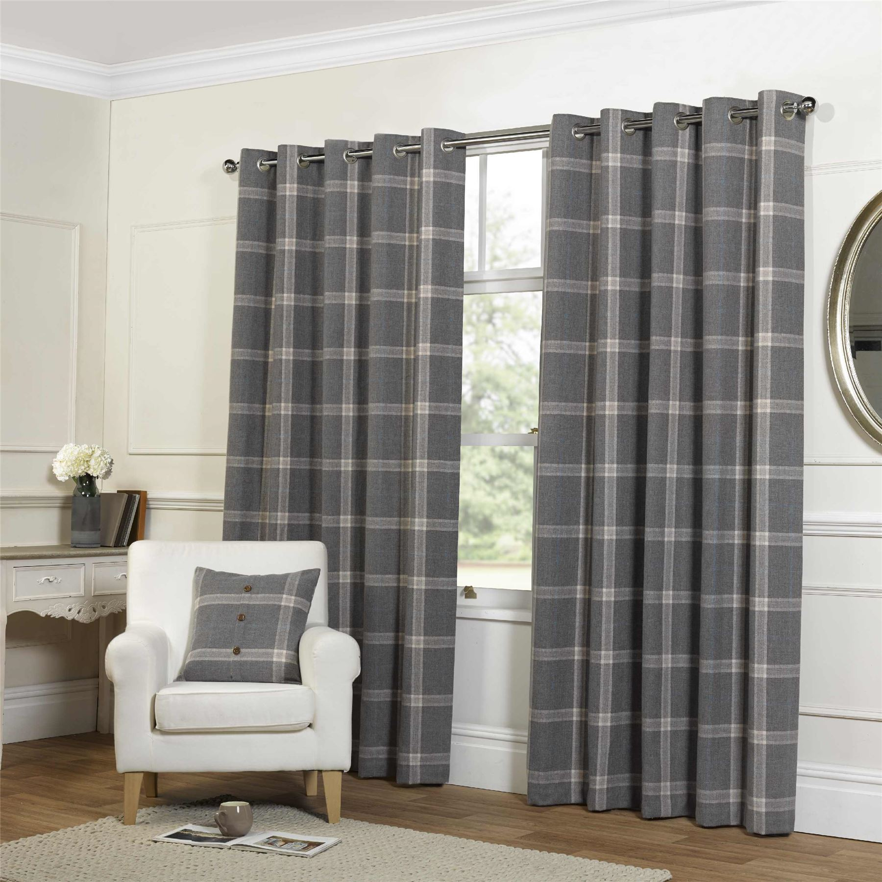 tartan check grey lined wool look feel ring top curtains drapes 4 sizes ebay. Black Bedroom Furniture Sets. Home Design Ideas