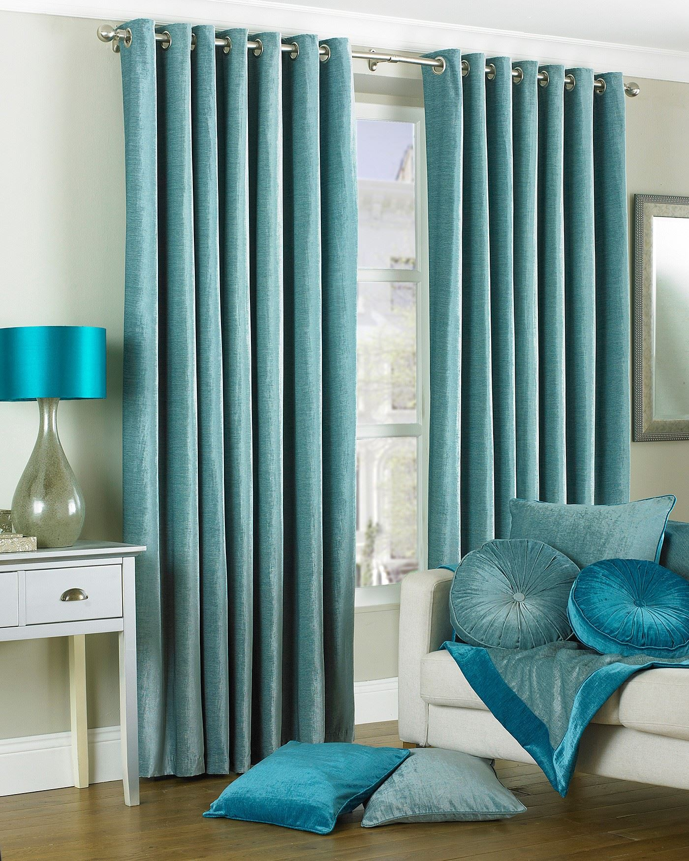 duchess duck egg blue velvet lined ring top eyelet. Black Bedroom Furniture Sets. Home Design Ideas