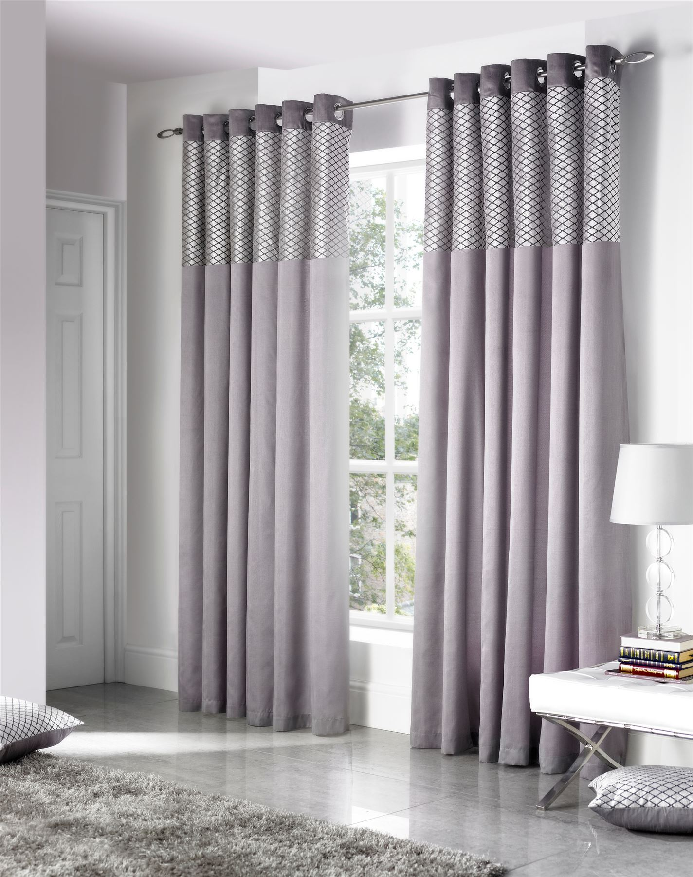 FAUX SILK CUT VELVET SILVER LINED RING TOP CURTAINS DRAPES *5 SIZES ...
