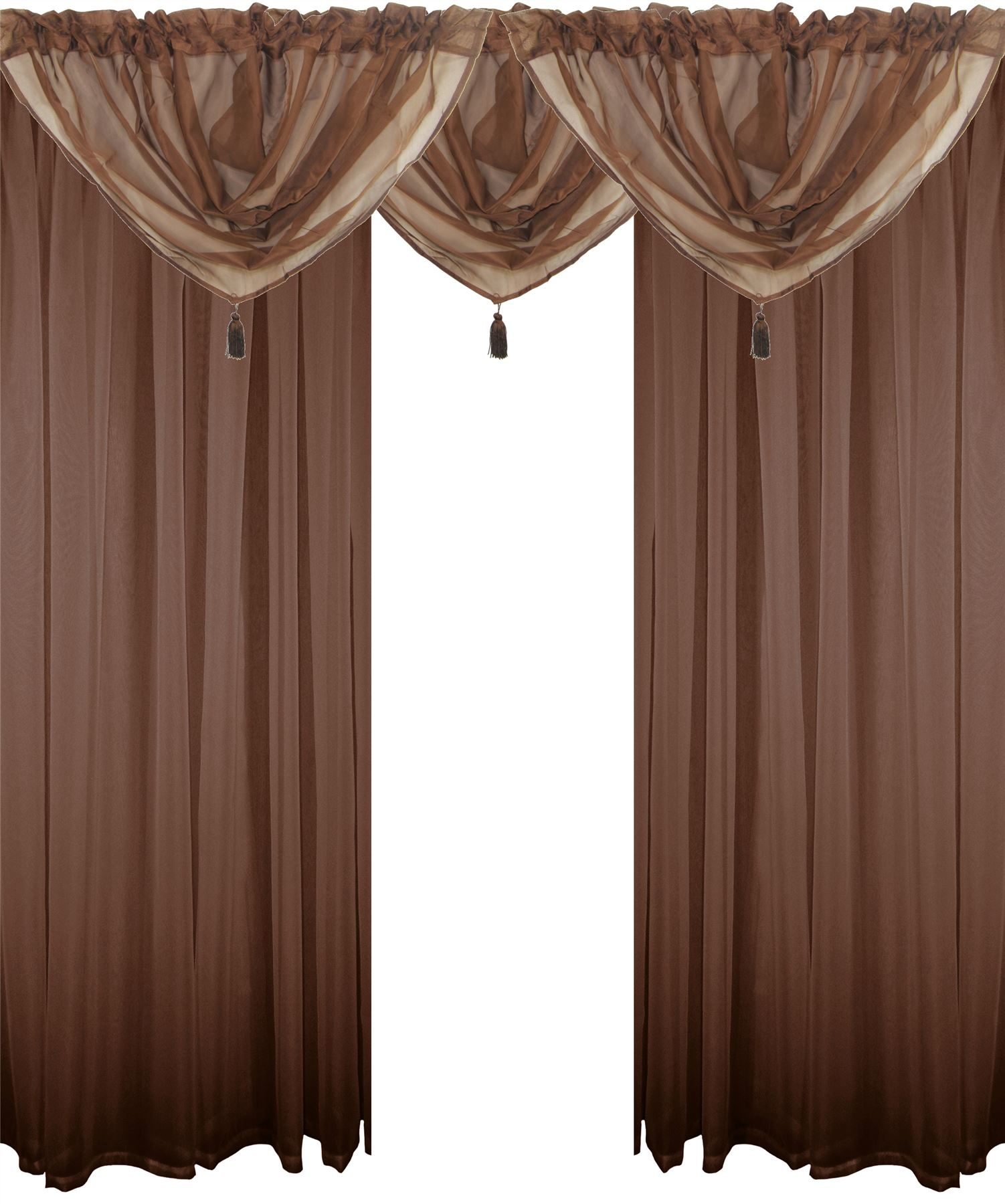 Chocolate Brown 5 Piece Voile Set Rod Pocket Curtains
