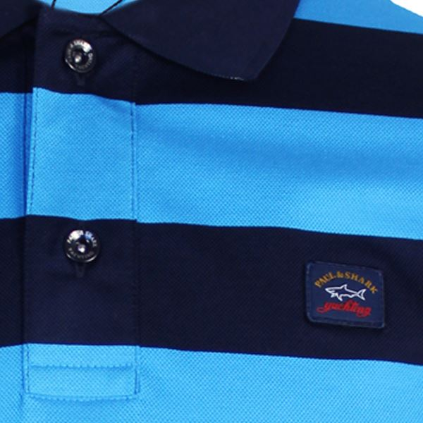 Details about PAUL & SHARK POLO SHIRT MENS BLUE AND NAVY STRIPED TOP