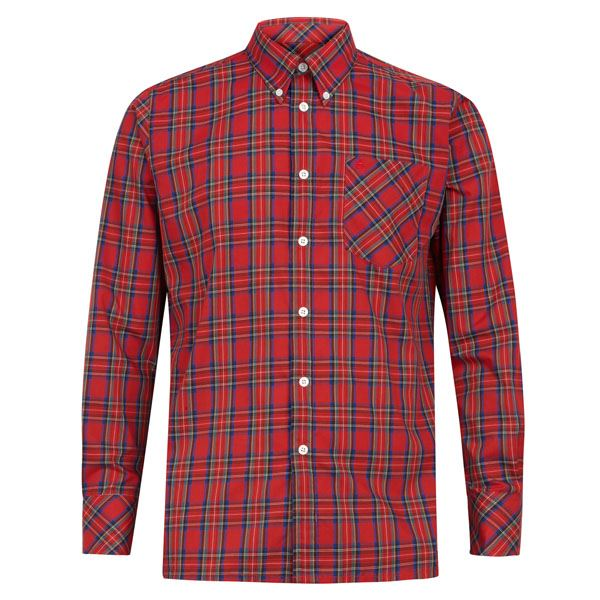 merc shirt neddy tartan check mens long sleeve stewart red top