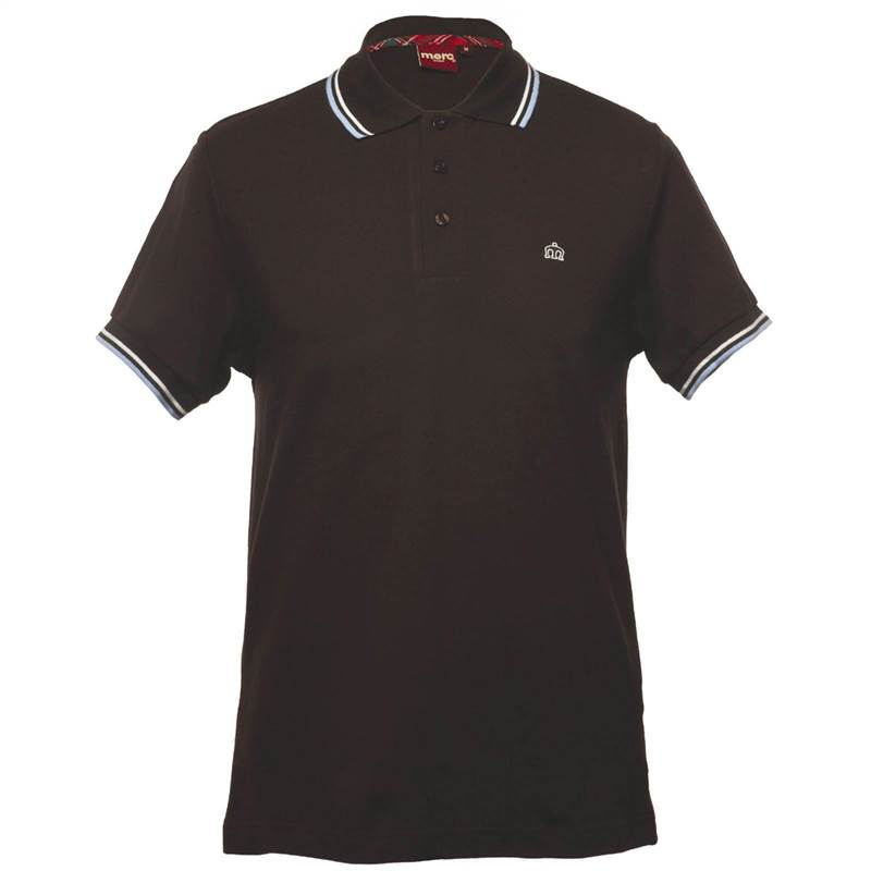 Merc polo t shirt card mens chocolate brown pique tipped for Mens chocolate brown shirt