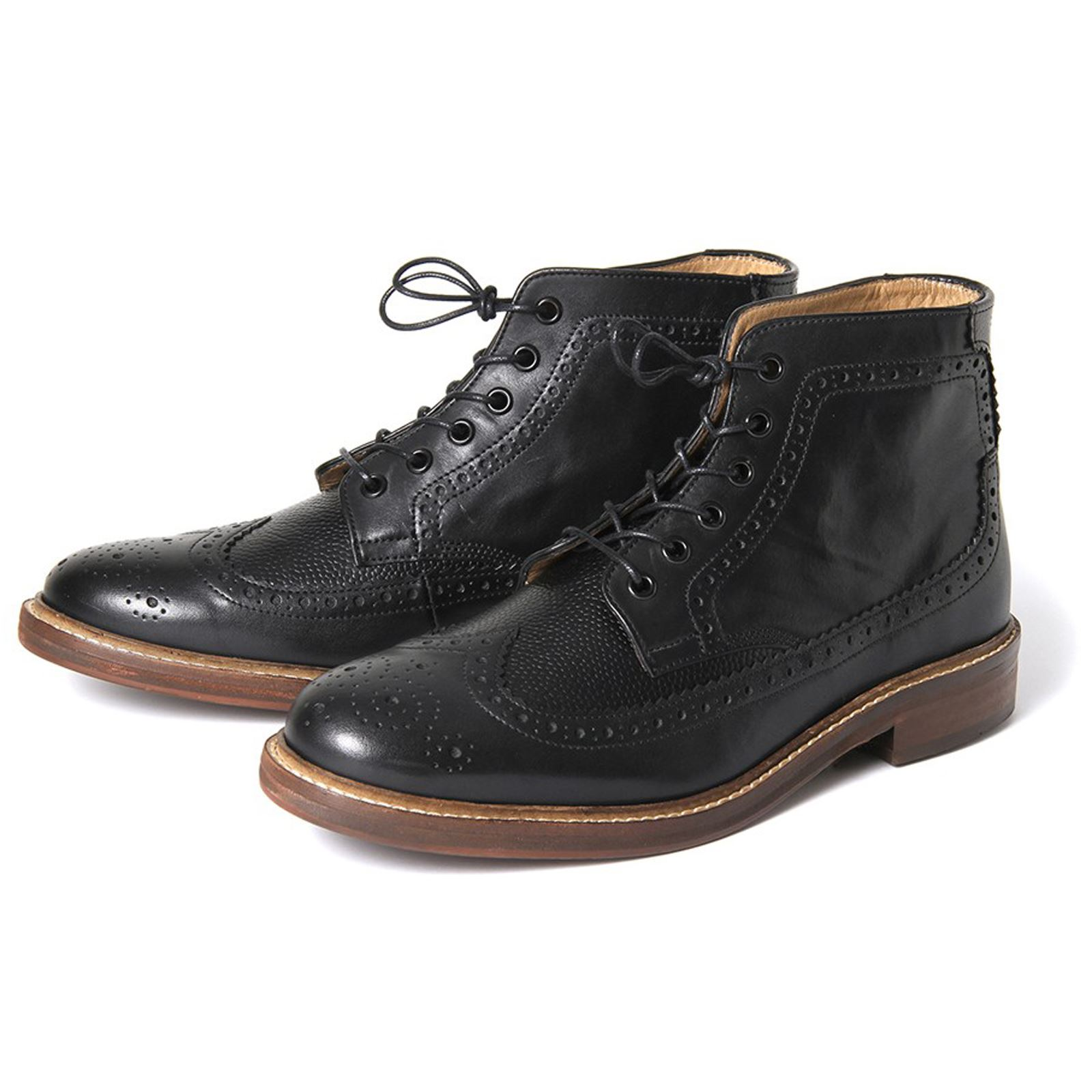 h by hudson boots hemming black leather mens brogue boot