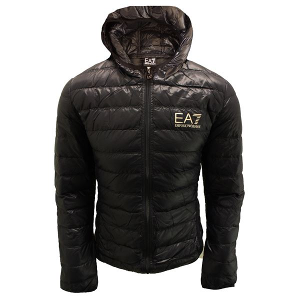 Polo Ralph Lauren lightweight down puffer jacket player logo in black. £ Armani Exchange long down puffer jacket in black. £ Calvin Klein Jeans puffer jacket with logo patch. £ River Island wet look puffer jacket in black. £ Superdry Storm hybrid puffer jacket in black.