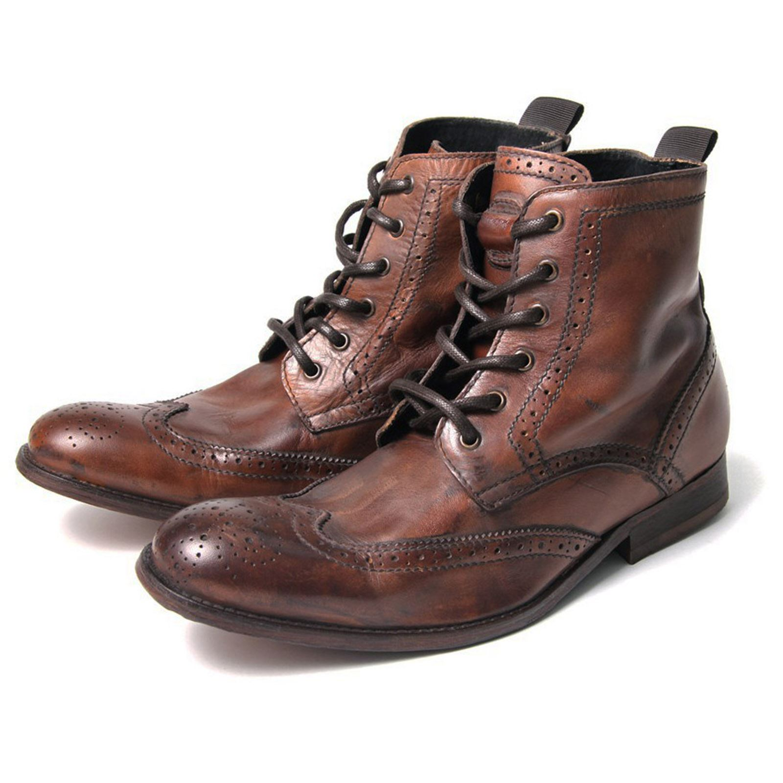 h by hudson boots angus distressed leather brogue boot