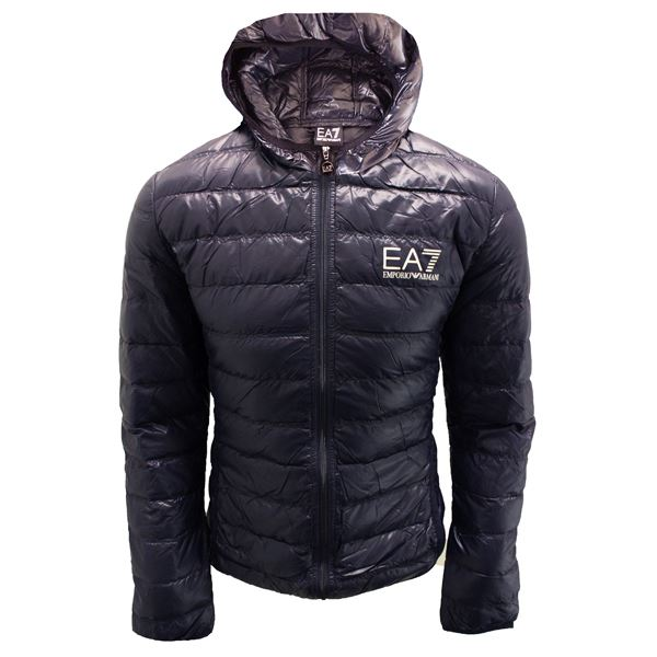 EMPORIO ARMANI COAT EA7 MENS HOODED DARK BLUE PADDED BUBBLE JACKET ...