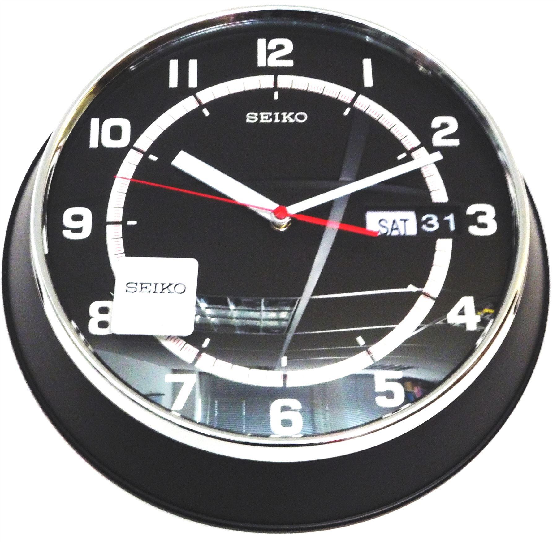 Seiko quartz wall clock black dial arabic numerals day for Seiko quartz wall clock