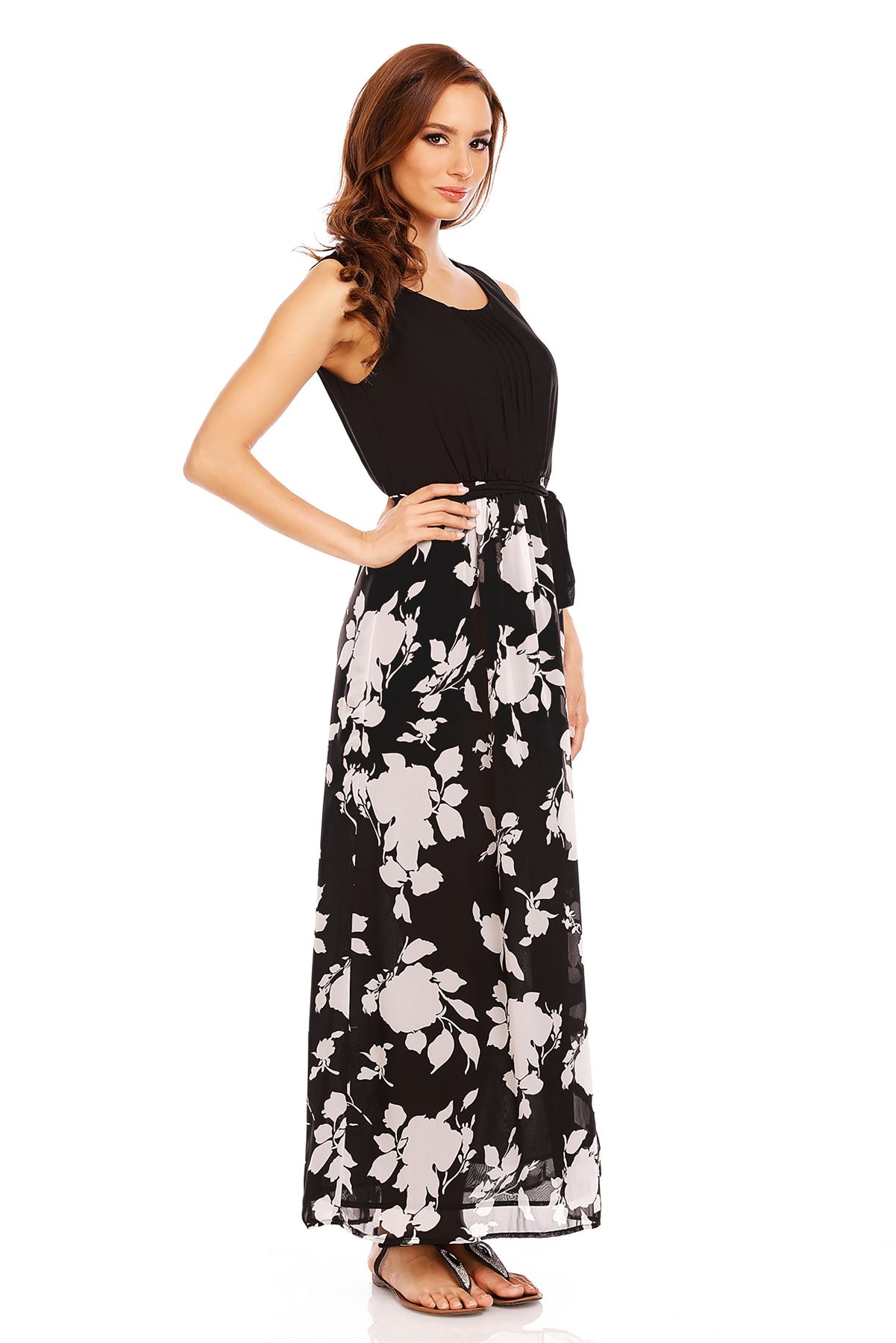 Model Fashion Womens Polka Dots Maxi Long Casual Summer Beach Party Tank Dress Belted | EBay