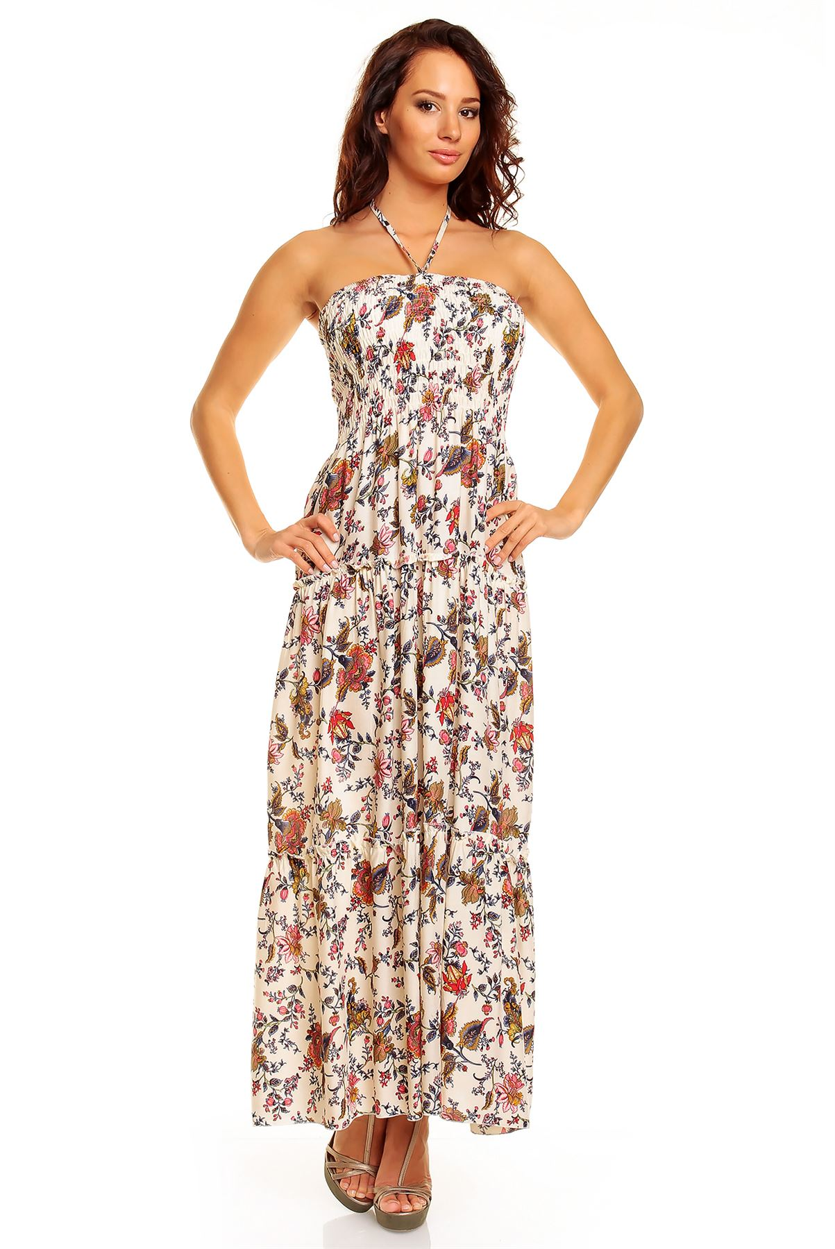 Genorvia ladies maxi dress summer floral strapless beach party dress This maxi dress is absolutely stunning, the material is lovely and soft making this very comfortable to wear.