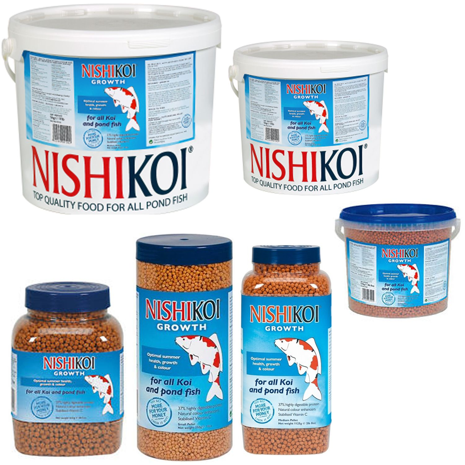 Nishikoi growth pond fish food 350g small pellet 2mm ebay for Pond fish food