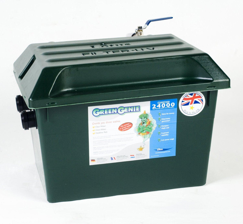 Lotus green genie pond filter uv koi fish gravity box for Pond supply companies