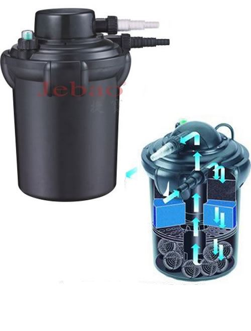 Jebao pf pressurised pond filter built in uv lamp kill for Pressurised pond filter