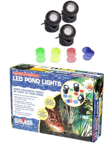 Triple-Underwater-LED-Garden-Pond-Light-Set-12-Coloured-Lens