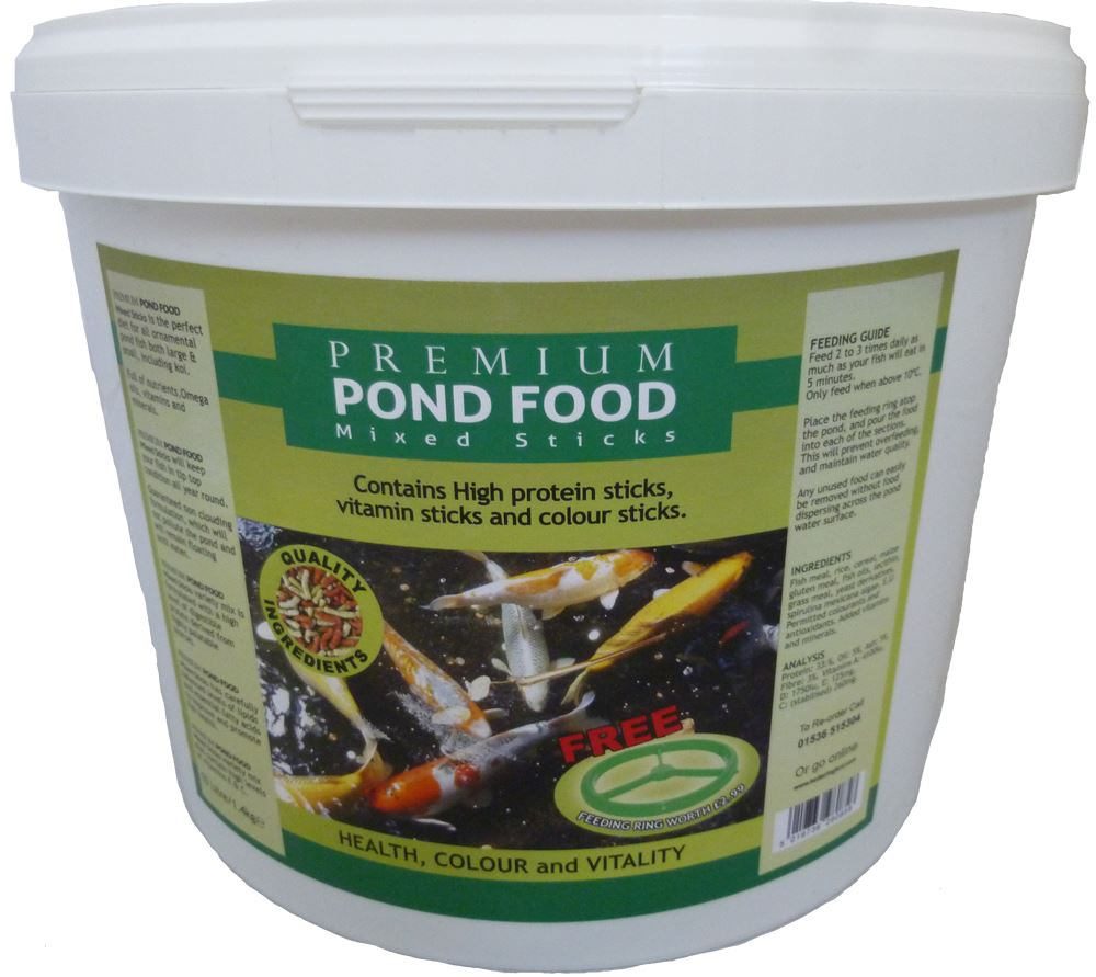 Pond sticks 10l bucket floating koi goldfish fish for Pond fish food