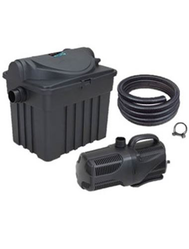 Bermuda 3000l complete fish pond uv filter pump ribbed for Koi pond filter kits