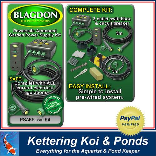 Blagdon powersafe armoured pond power supply kit psak5 ebay for Pond supply companies