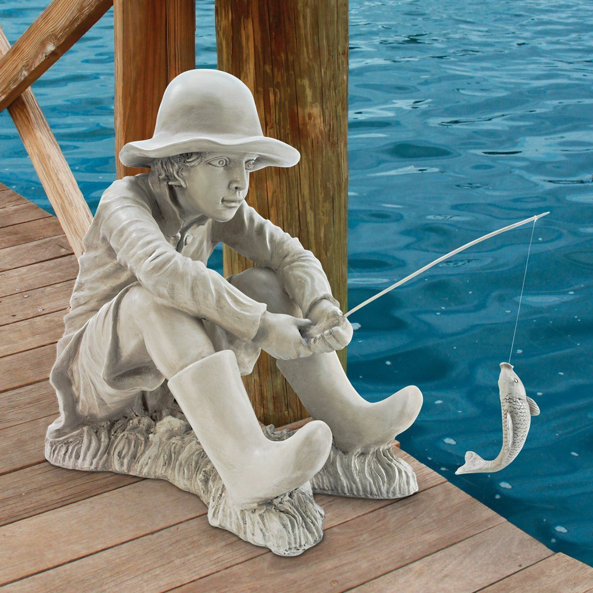 Toscano gone fishing fisherman boy pond side garden statue for Statue deco jardin