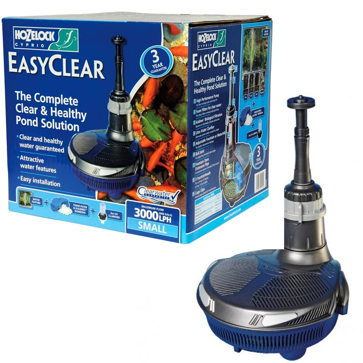 Hozelock easyclear 3000 all in 1 fish pond filter pump uv for Ultraviolet pond pumps