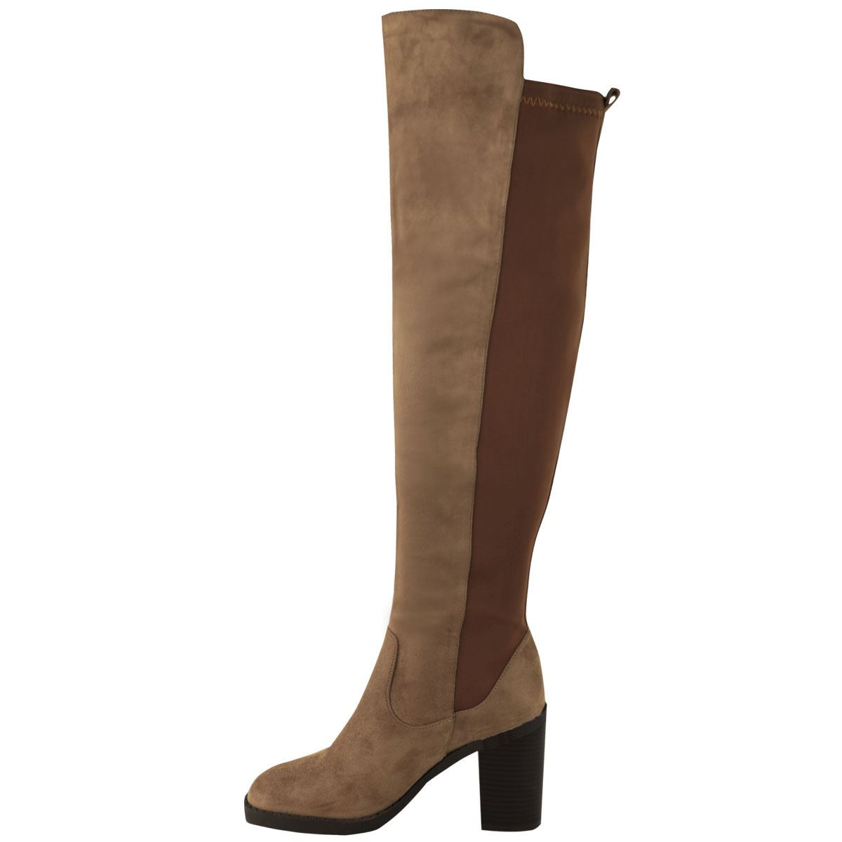 womens chunky heel the knee thigh high stretch wide