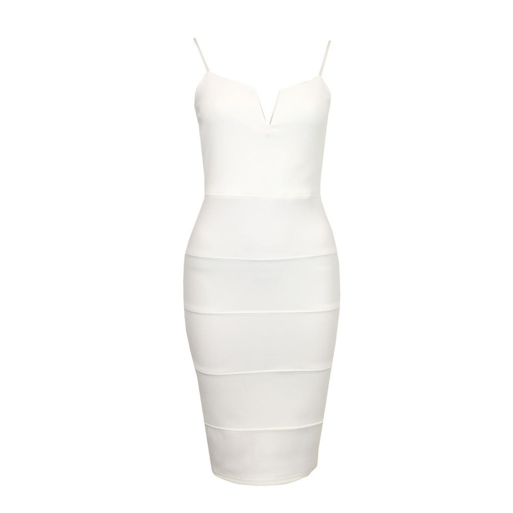 Womens-Adjustable-Strap-V-Front-Ribbed-Bandage-Stretch-Bodycon-Ladies-Midi-Dress