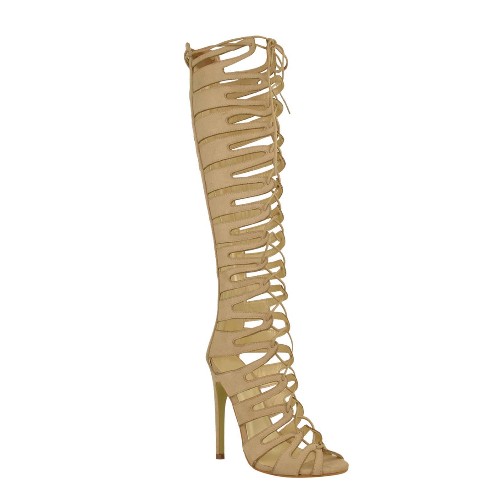 cut out high heel strappy lace up knee high