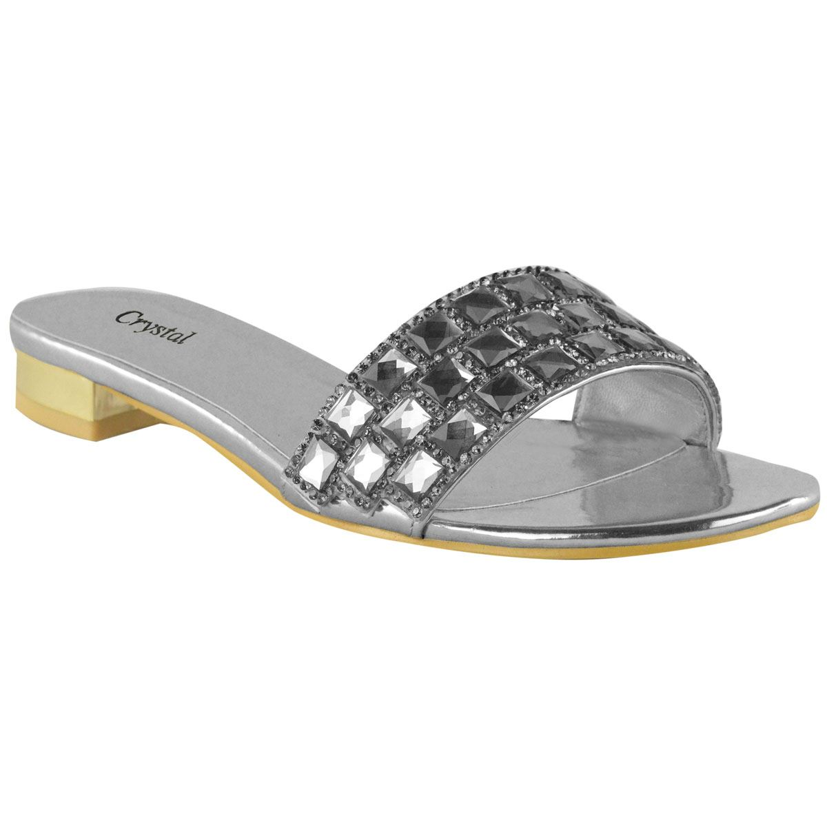 Womens Diamante Low Block Heel Evening Ladies Summer Flat ...
