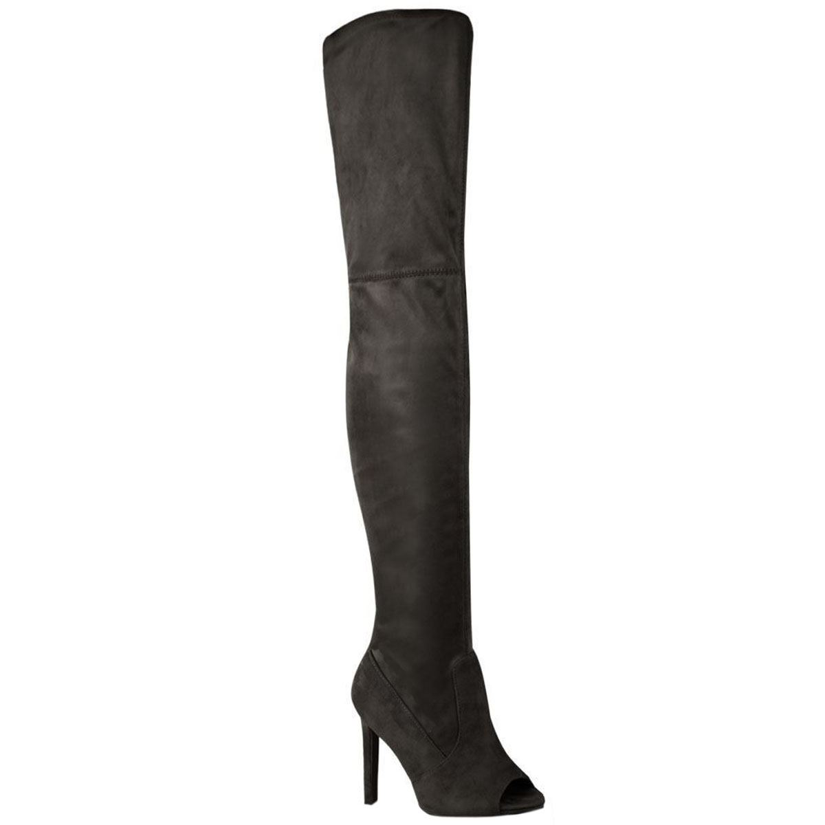 womens thigh high the knee pull on peep toe stiletto
