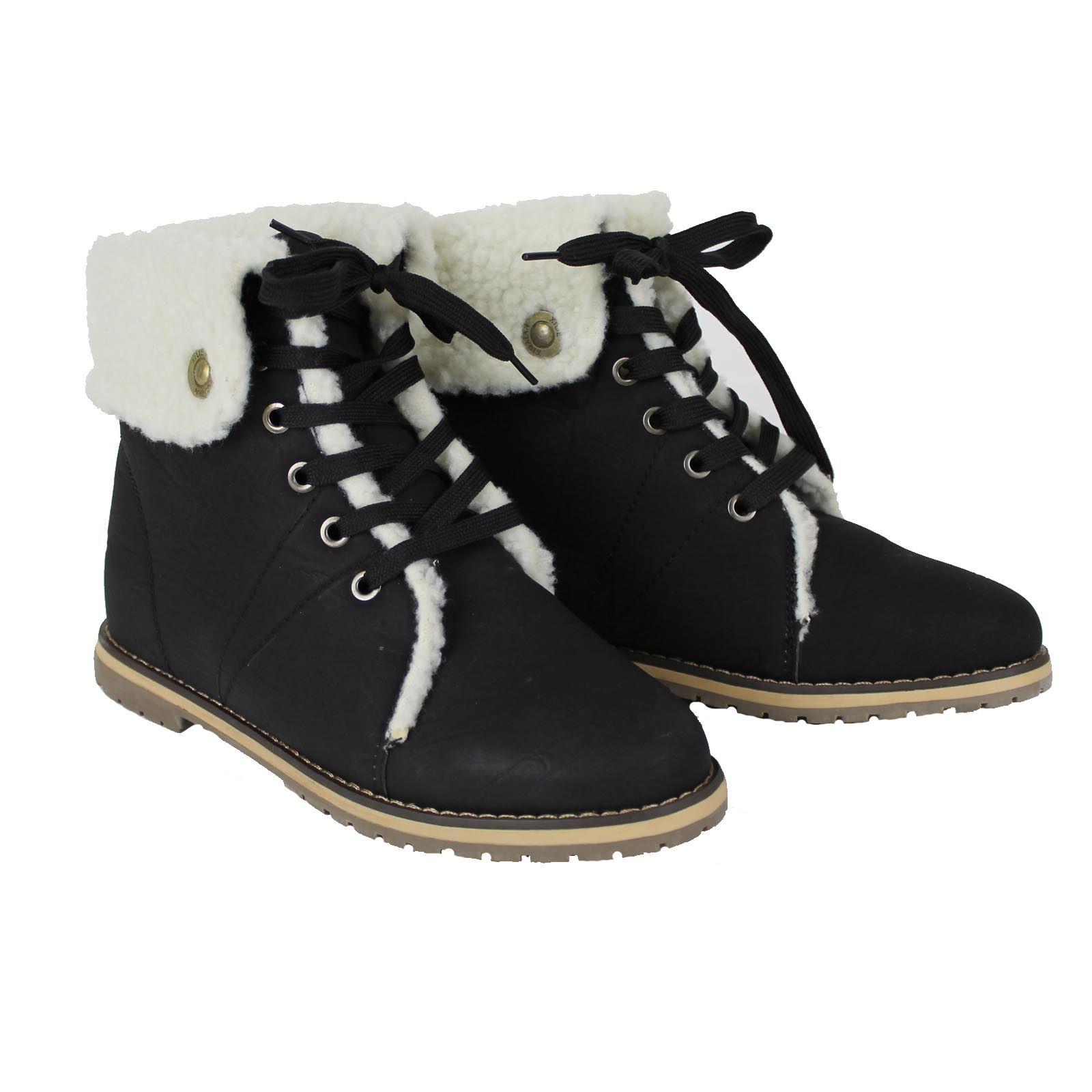 Womens Snow Winter Fur Ankle Flat Low Heel Ladies Walking ...