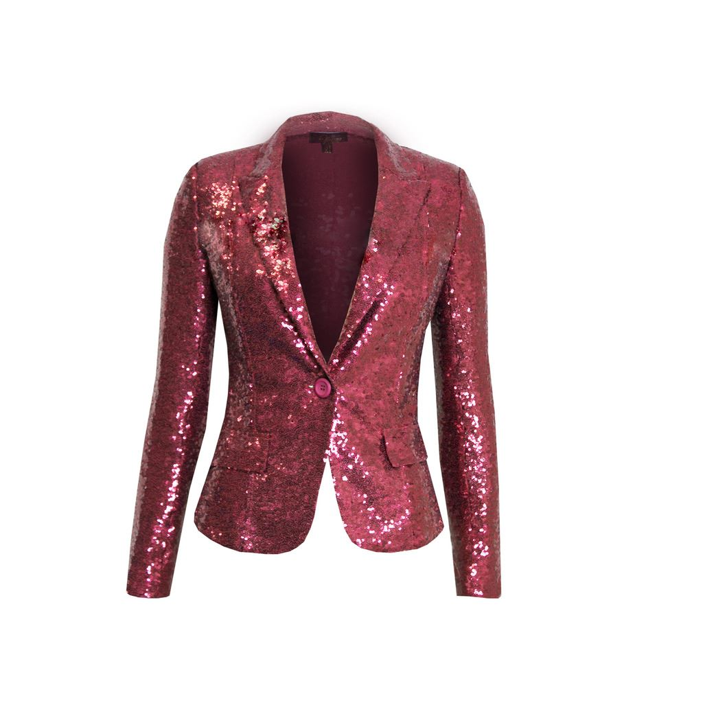 femme un bouton sequin blazer rembourr paule disco f te veste ebay. Black Bedroom Furniture Sets. Home Design Ideas