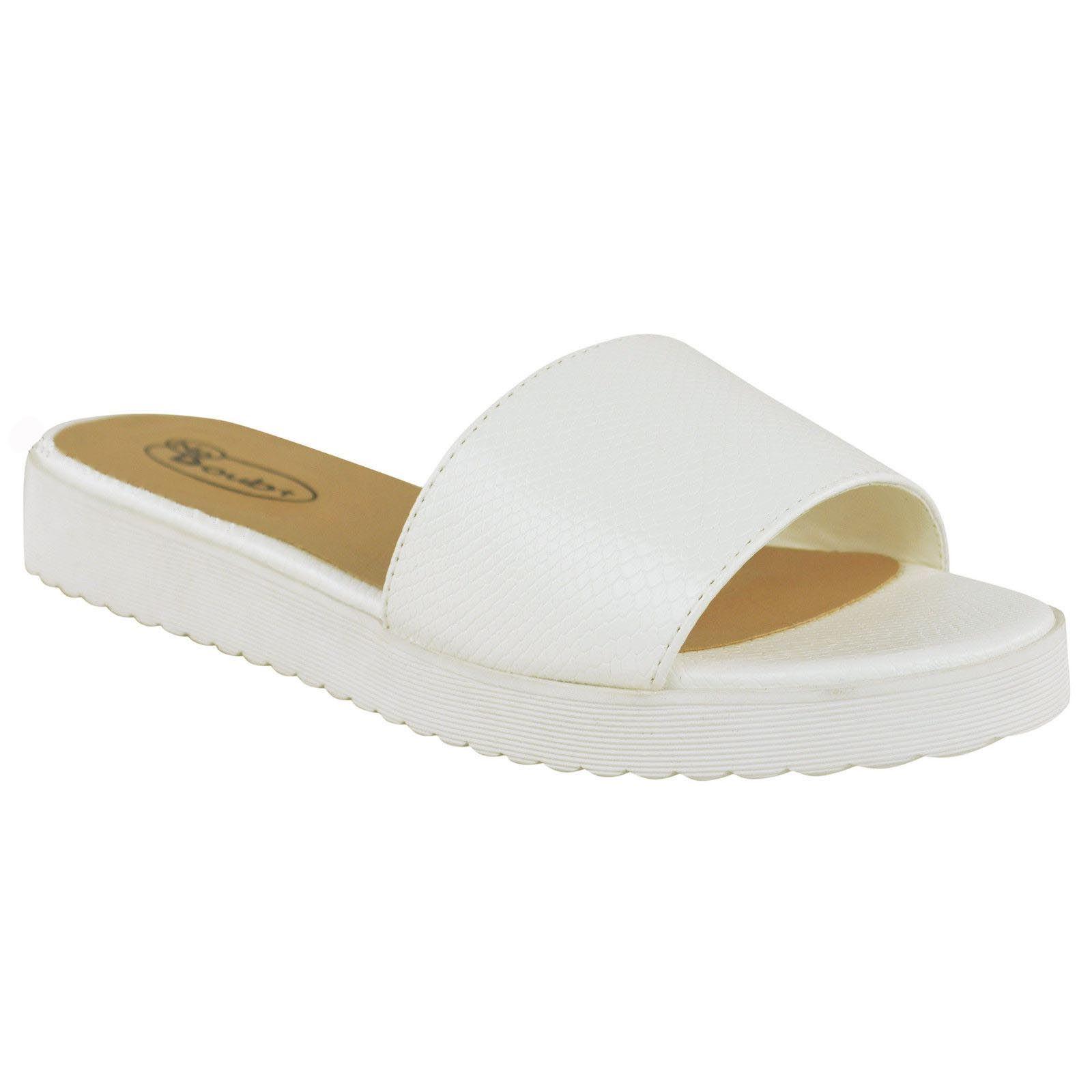 Womens Slip On Sandals Mules Summer Beach Flip Flops ...