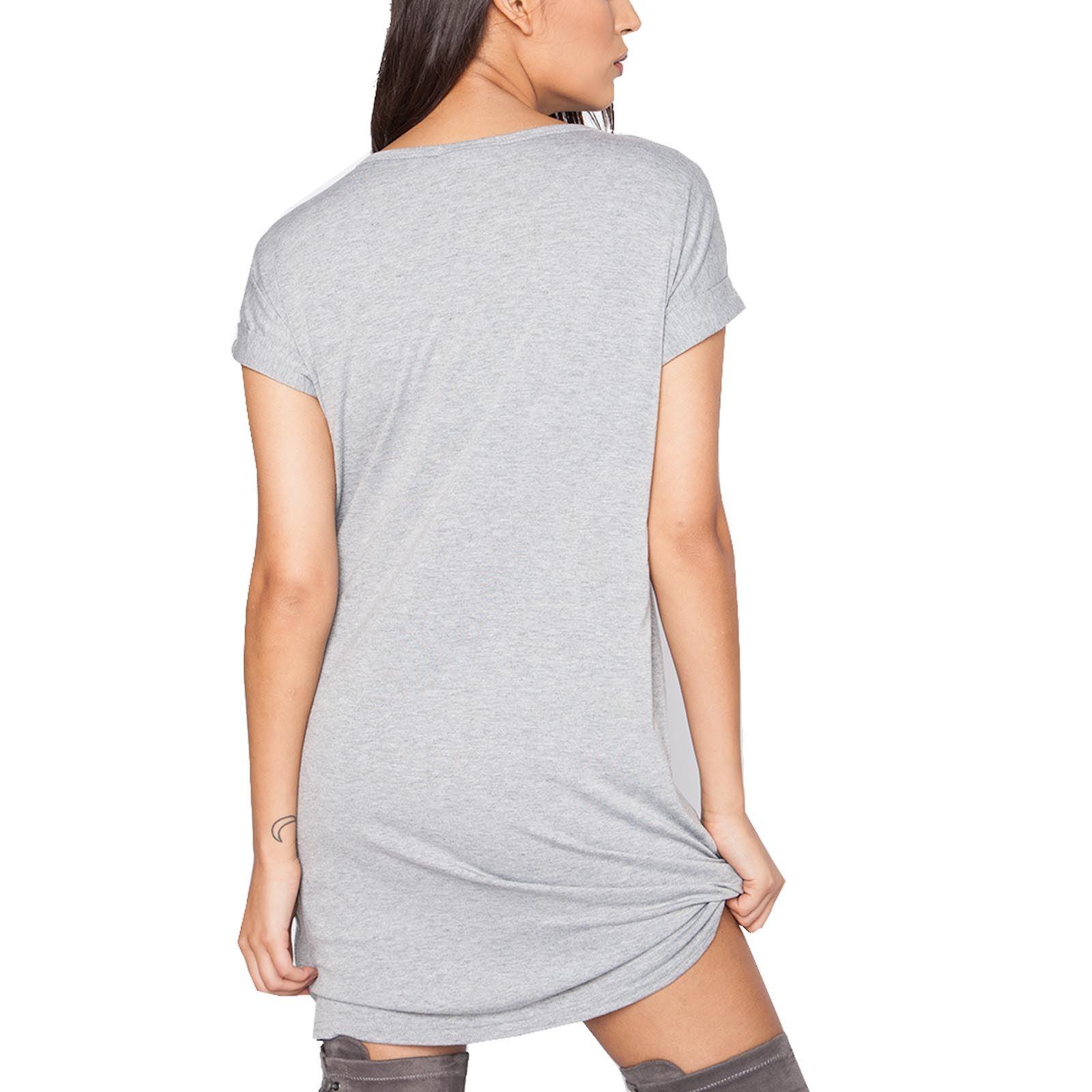 Womens ladies vintage eagle print short turn up sleeves for Long line short sleeve t shirt