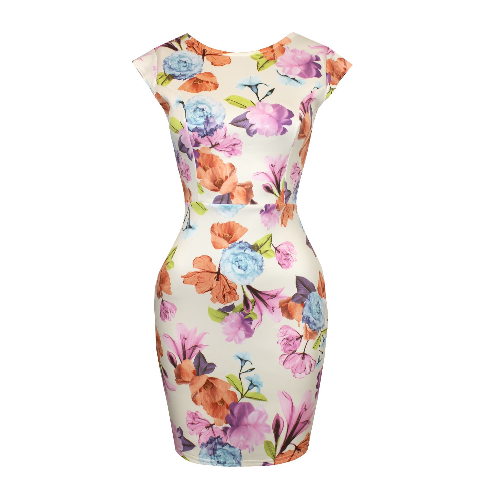 Womens-Floral-Print-Cut-Out-Bow-Knot-Back-Stretch-Bodycon-Ladies-Party-Dress