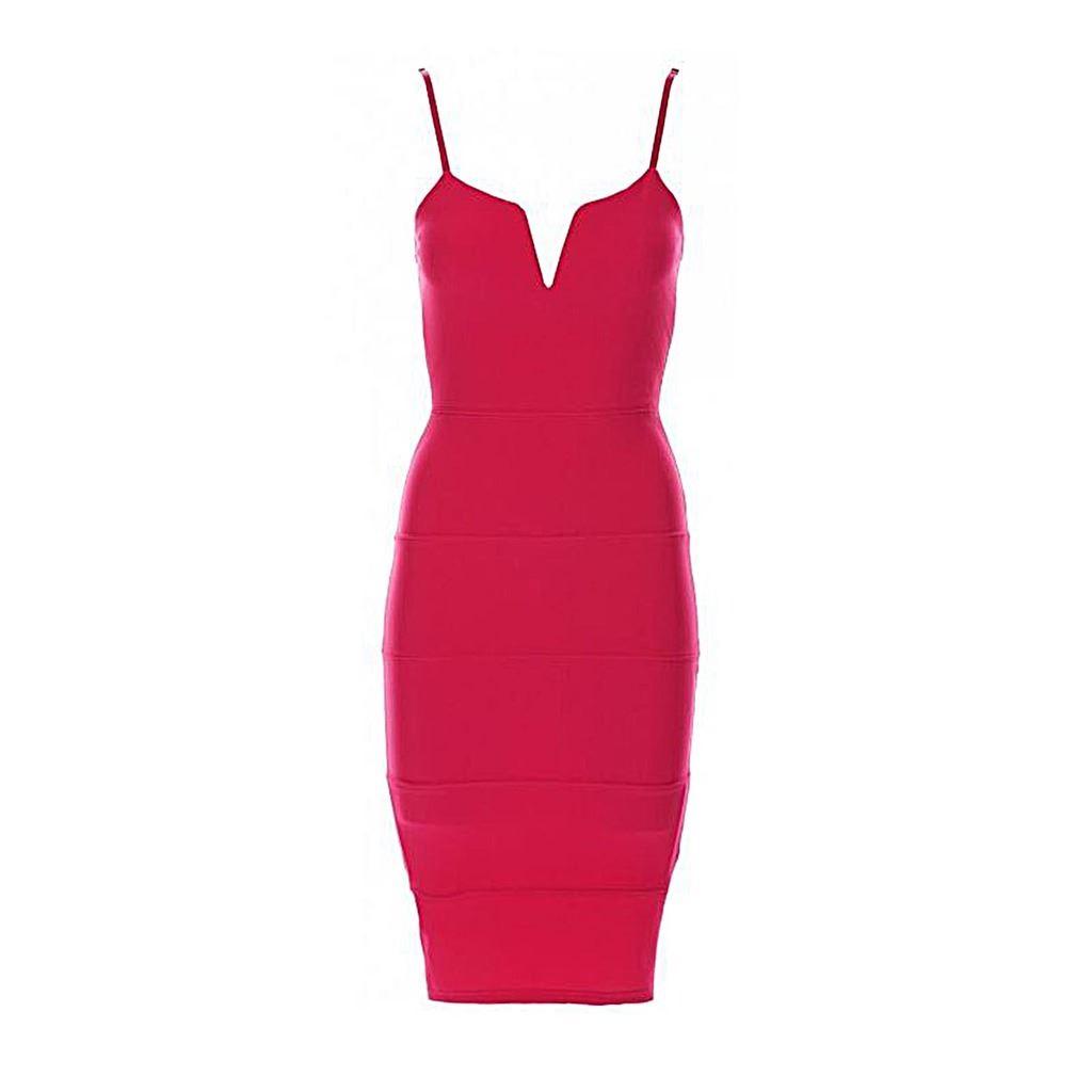 Womens-Adjustable-Strap-V-Front-Ribbed-Bandage-Stretch-Bodycon-Ladies-Midi-Dress