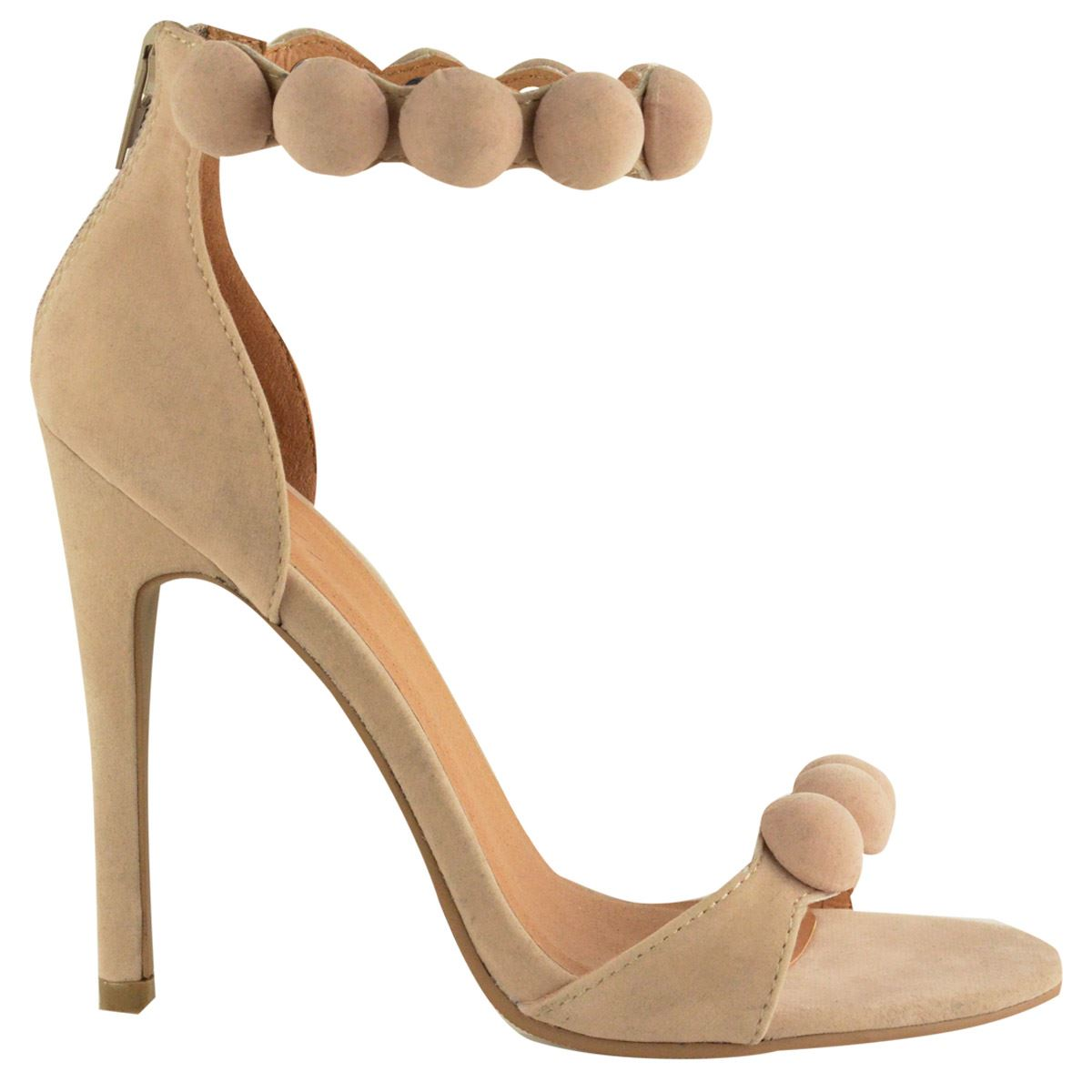 Womens Pom Pom Ankle Strappy Stiletto High Heel Ladies Peep Toe Sandals Shoes