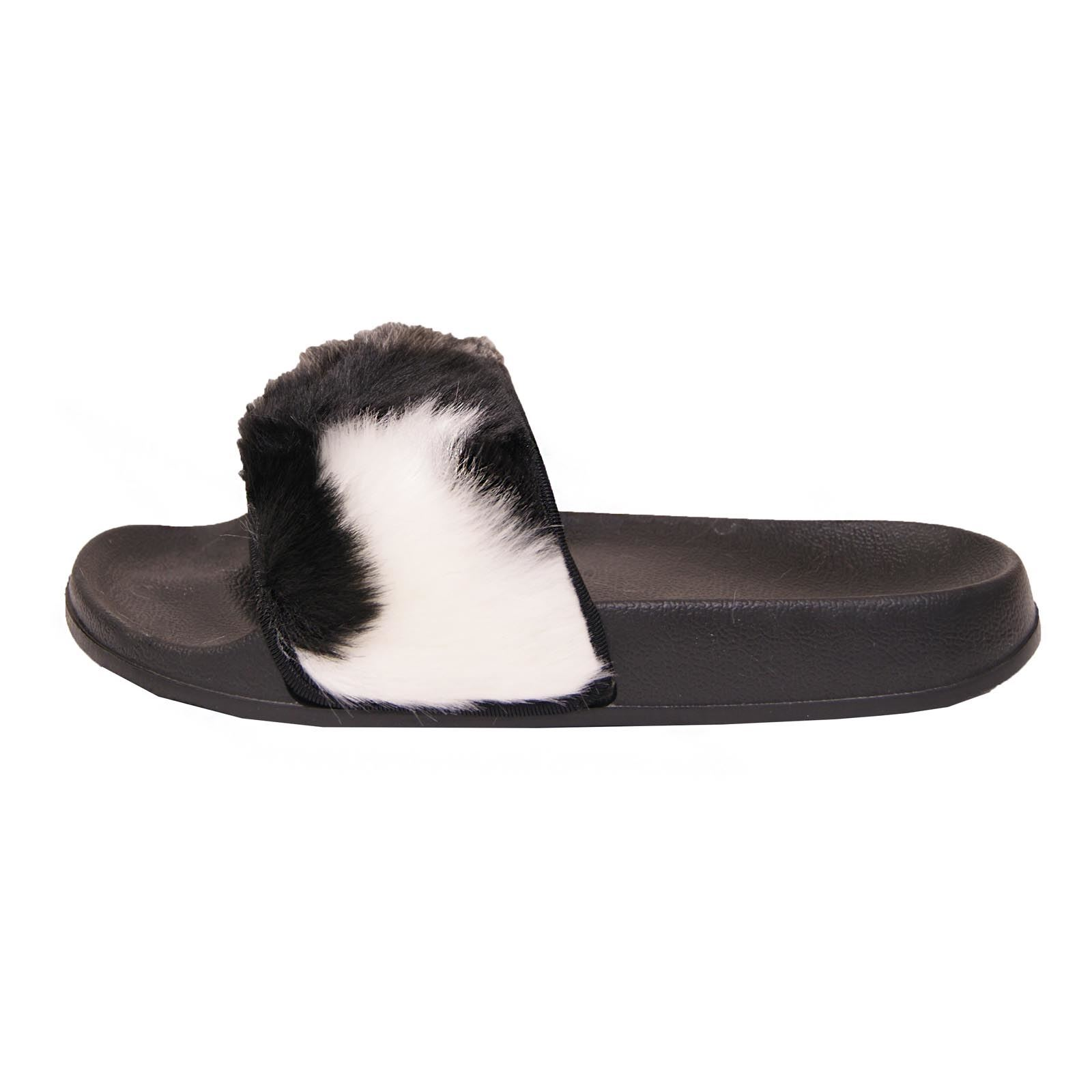 Womens Slip On Flat Farrah Rubber Slider Mules Fur Slipper Sandals Shoe