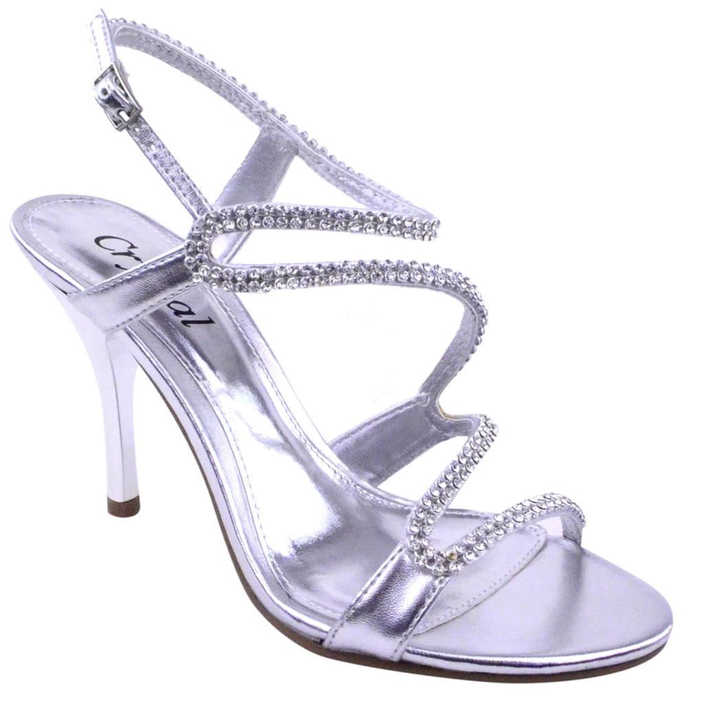 womens prom bridal evening diamante strappy