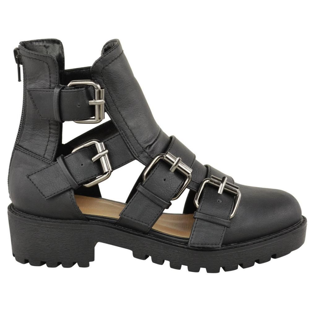 Womens Gladiator Cut Out Ankle Boots Ladies Low Mid Heel Strappy ...