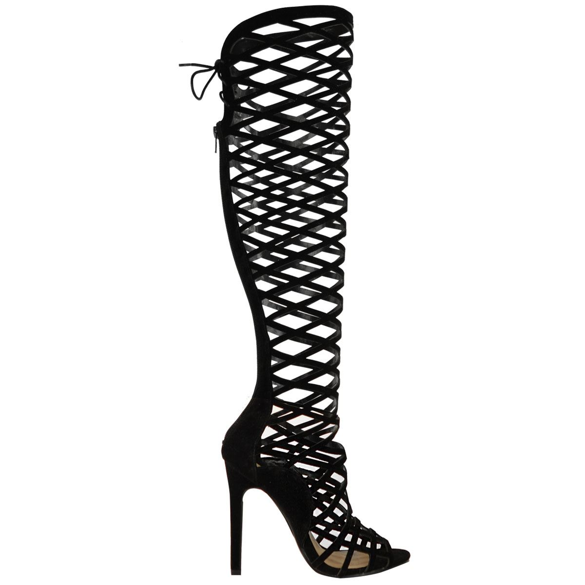 womens cut out lace knee high heel gladiator boots