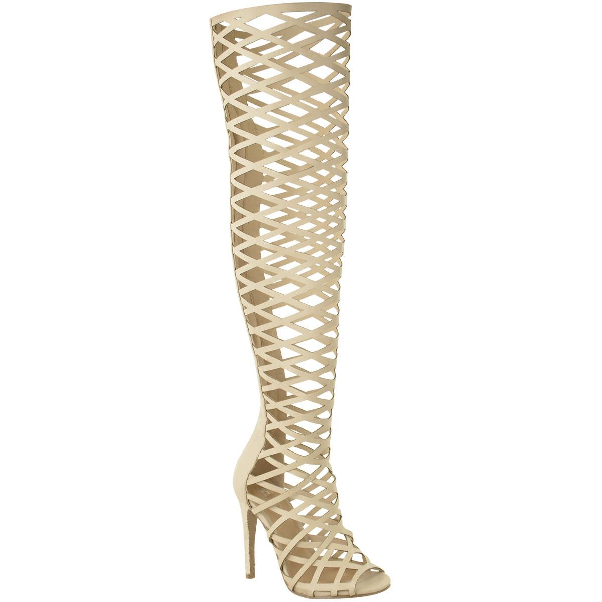 womens thigh high the knee stiletto heels cut out