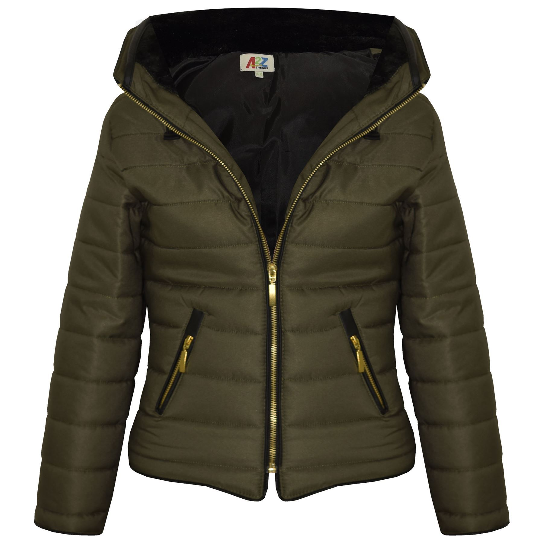Girls Jacket Kids Padded Olive Puffer Bubble Fur Collar Quilted ...