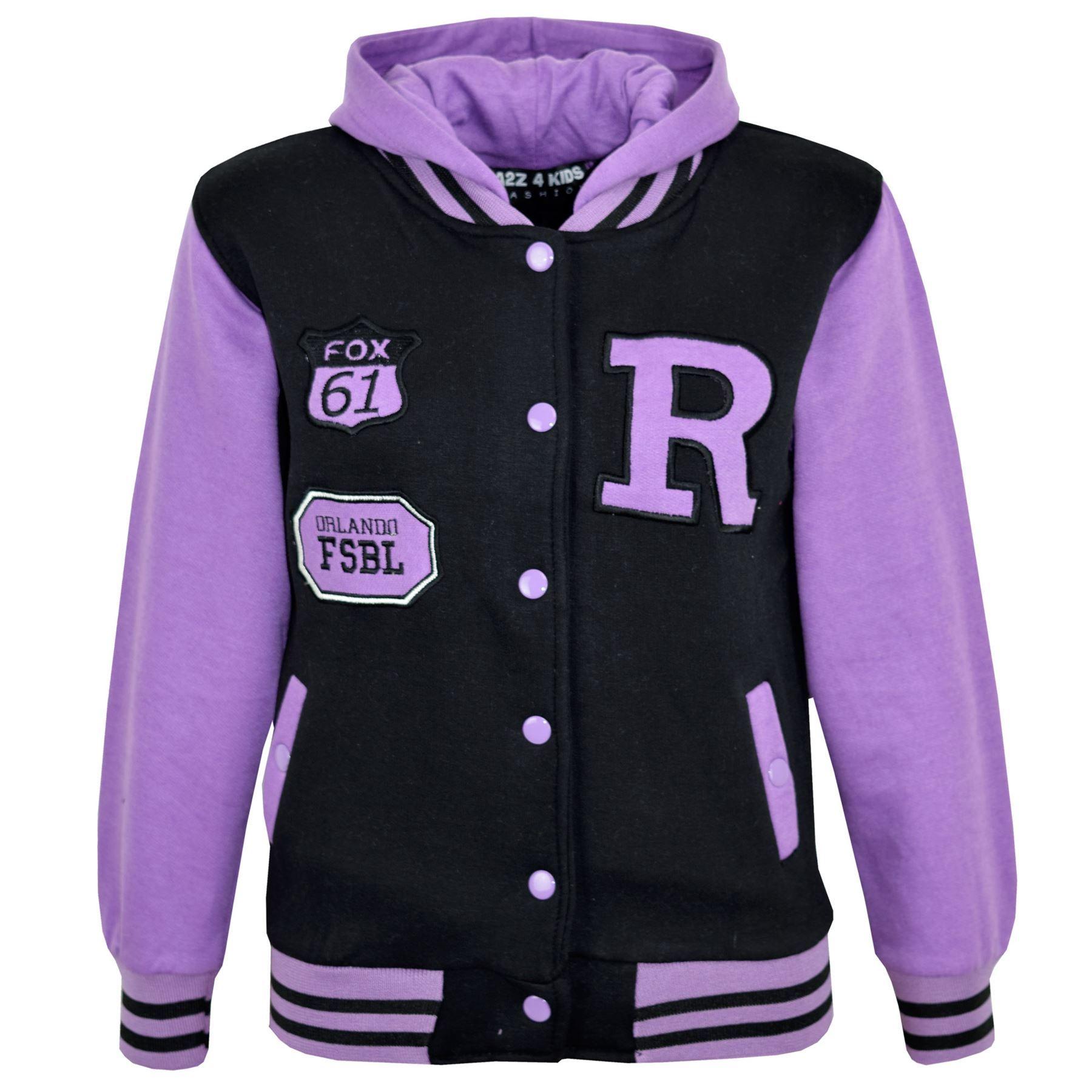 Kids Girls Boys R Fashion FOX Baseball Hooded Jacket Varsity Hoodie 5-13 Years | EBay