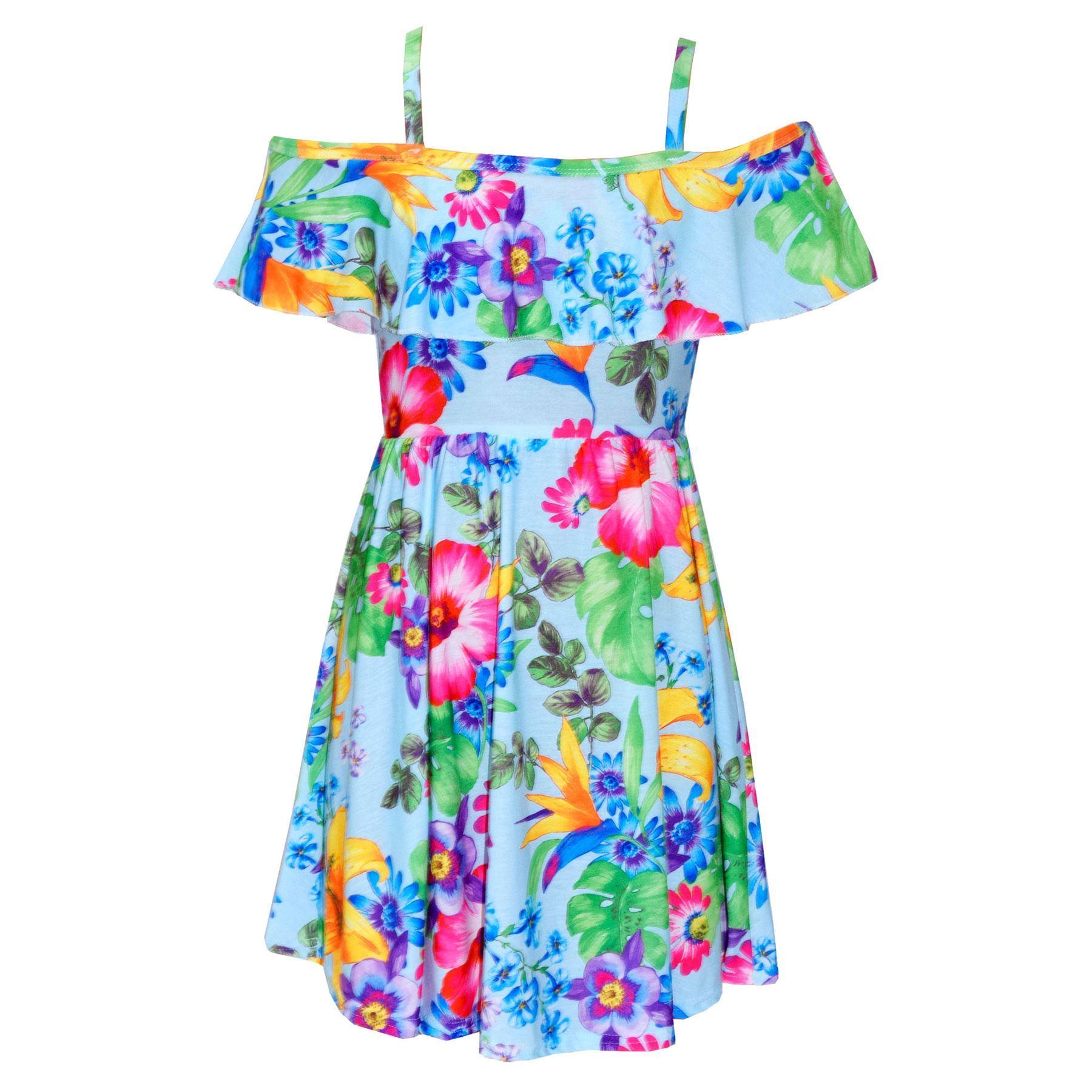 Girls Skater Dress Kids Floral Print Summer Party Off ...