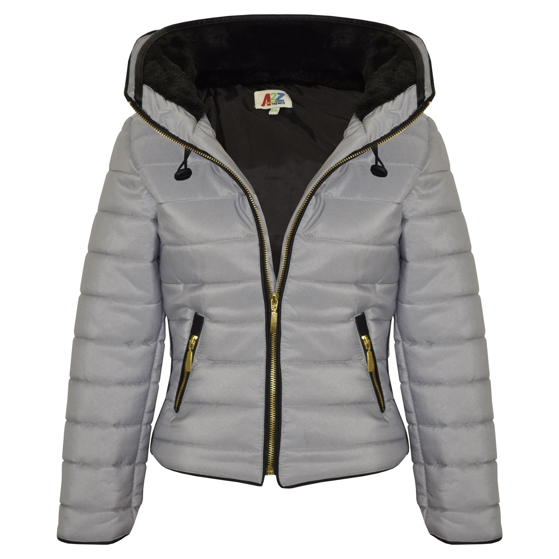 Girls Jacket Kids Padded Silver Puffer Bubble Fur Collar Quilted ...
