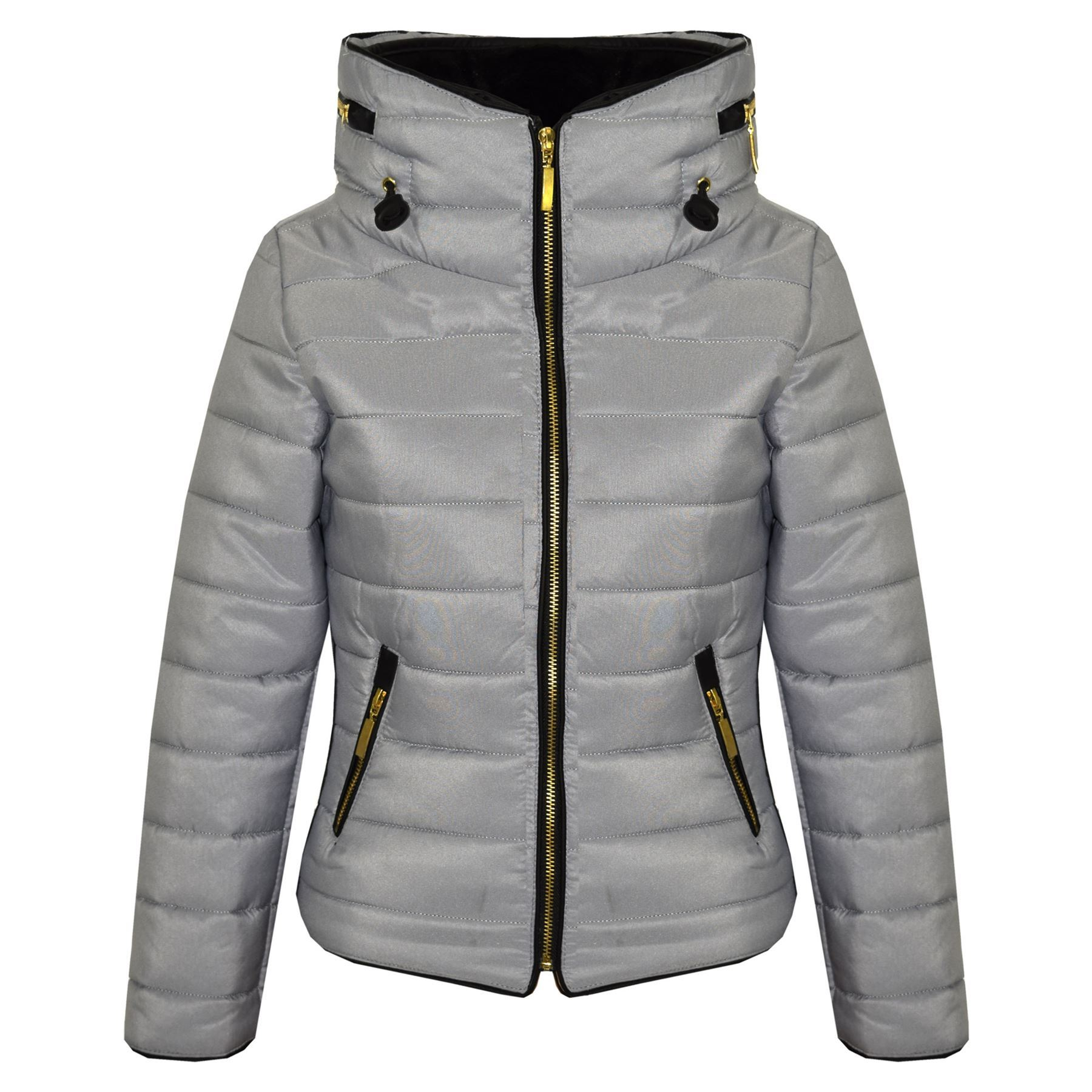 a3af37d7d3a8 Girls Jacket Kids Padded Silver Puffer Bubble Fur Collar Quilted ...