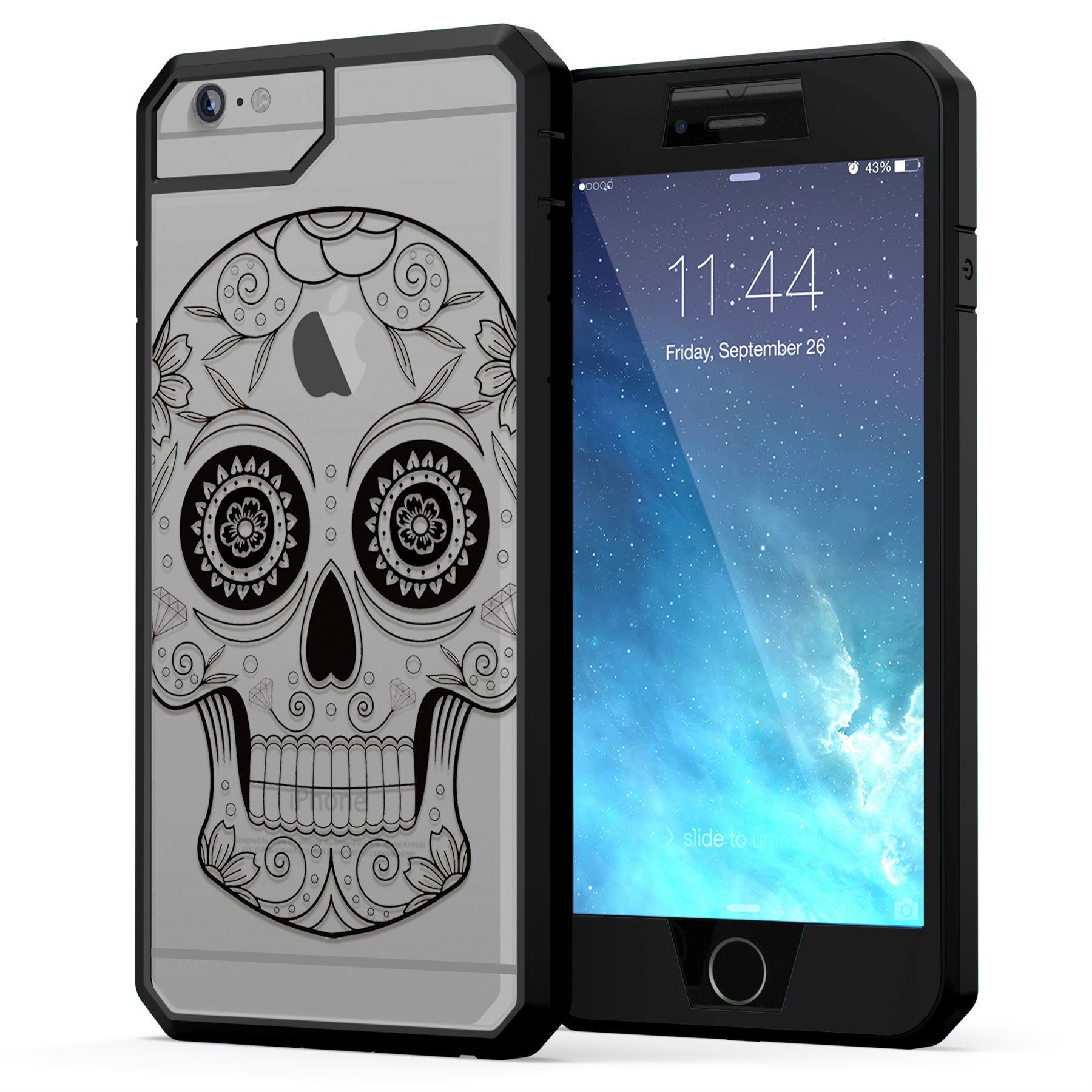 Heavy duty protective sugar skull design case cover for Window protector designs
