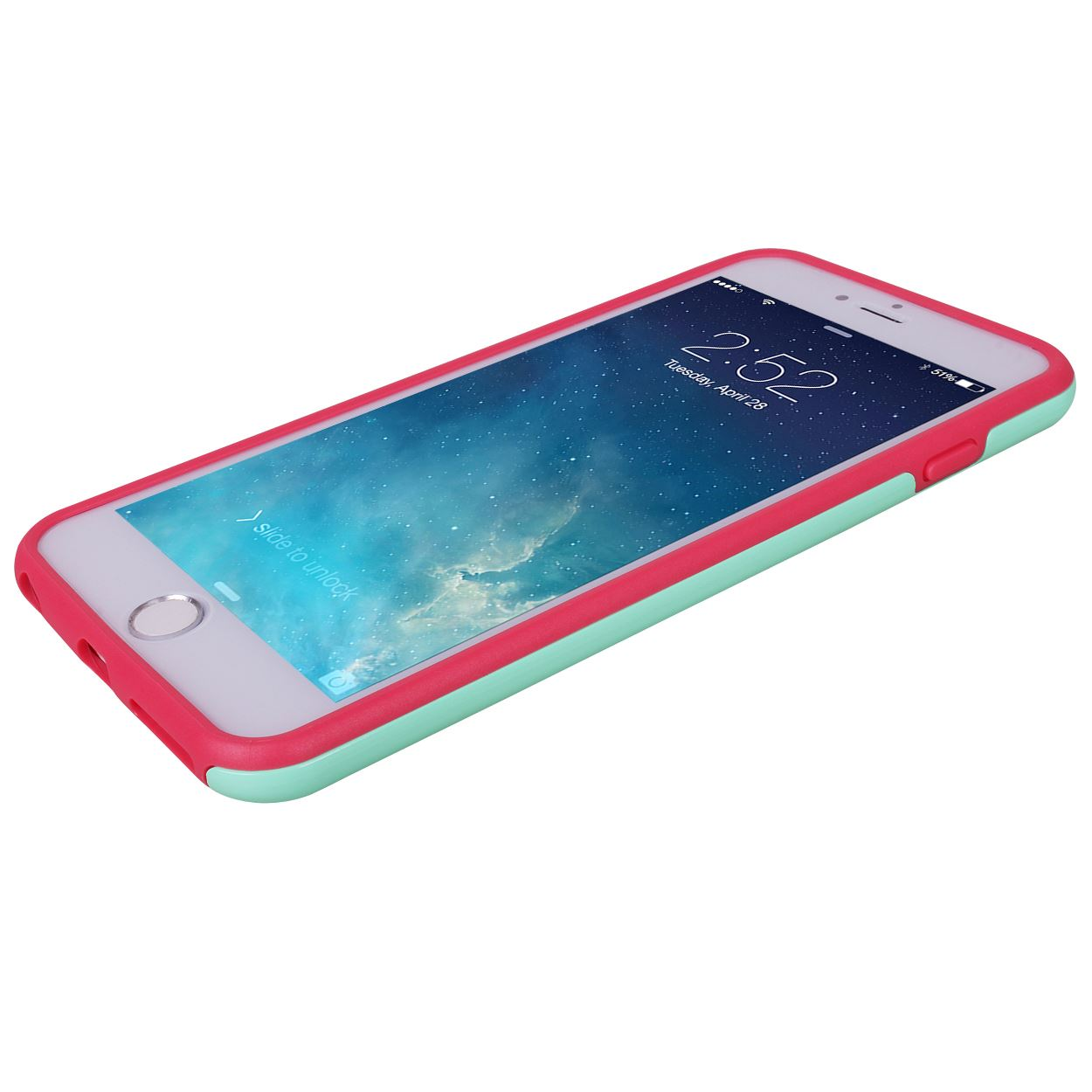 Slim 2 Parts Hybrid Hard Mint +Soft Pink Rubber TPU Bumper Protective Case Cover